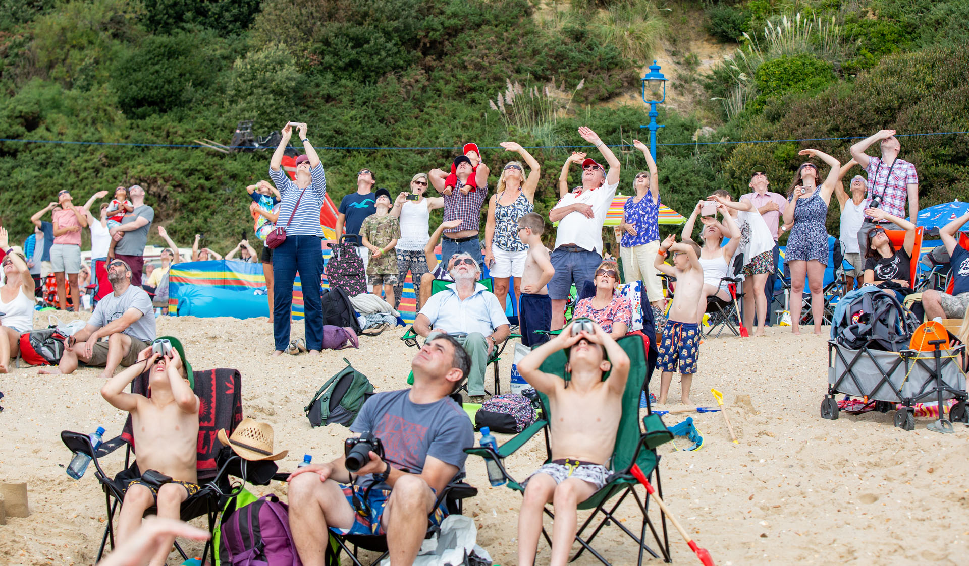 Crowds looking to the skies at the Bournemouth Air Show