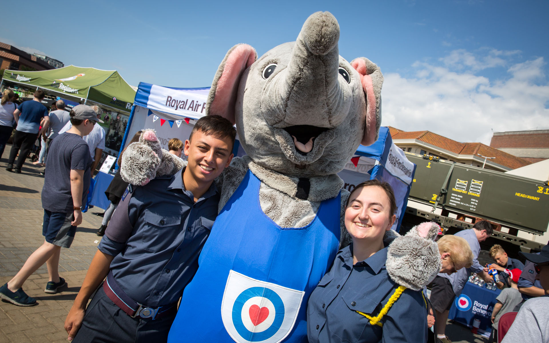 Cadets smile with the RAF elephant at the Air Show