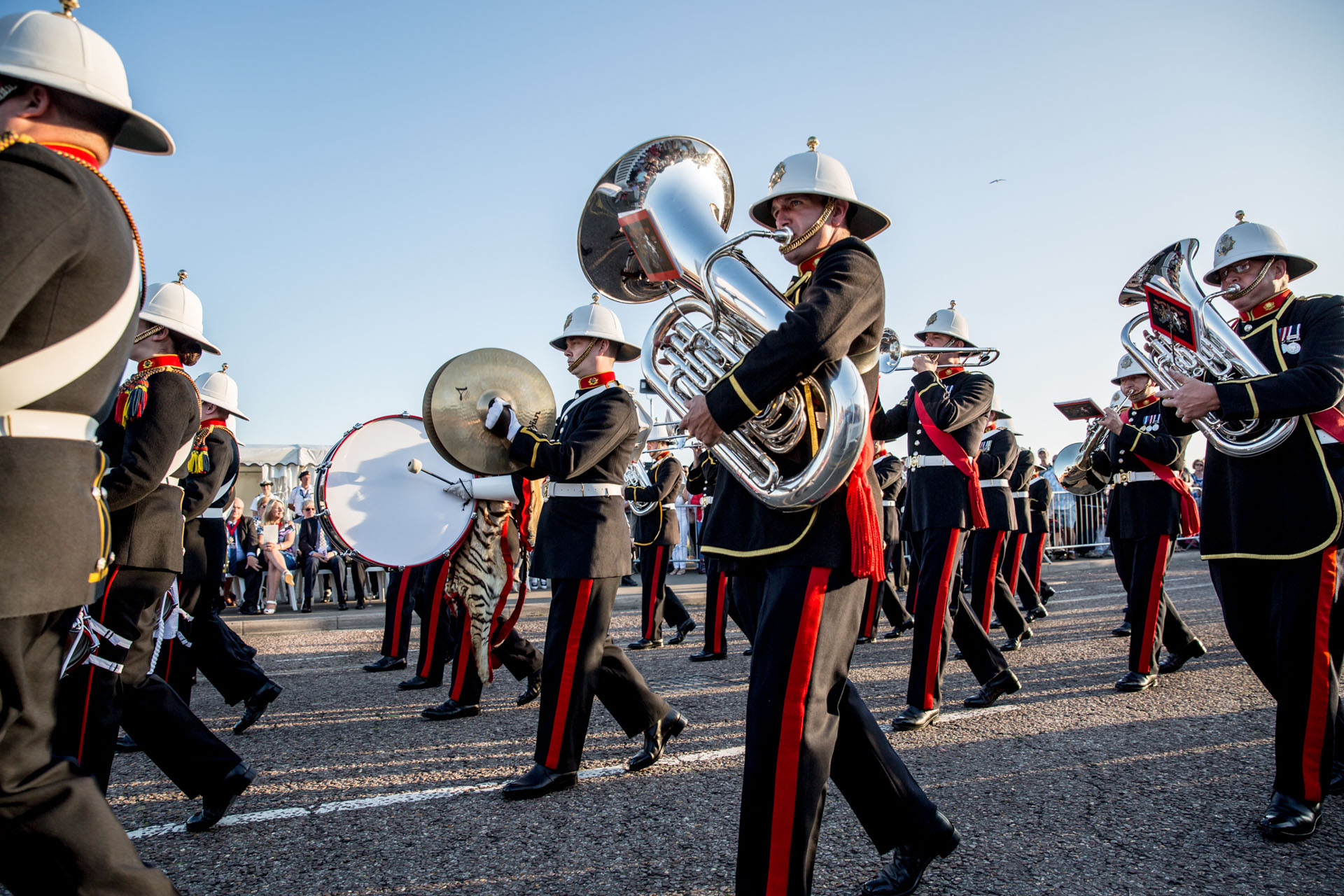 Marching band performing along the Bournemouth Seafront