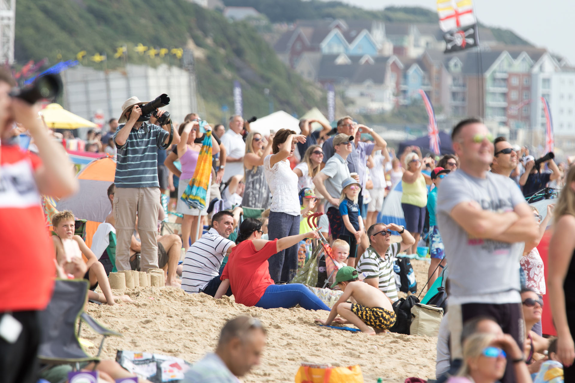 Festival goers watching the Air Show in full swing