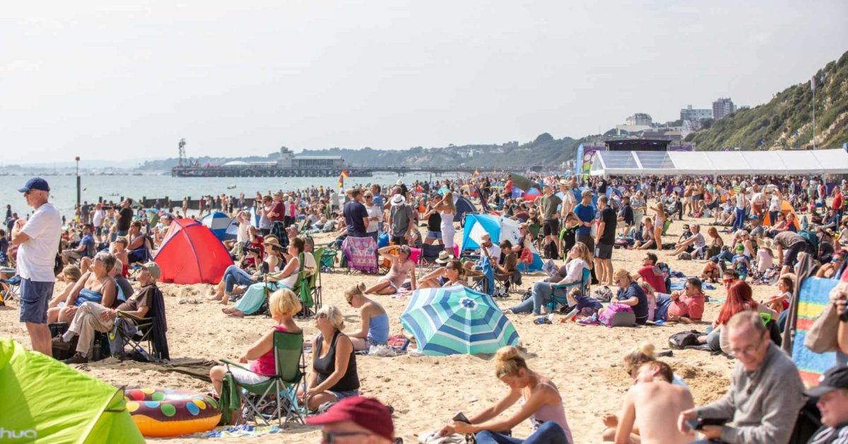 Crowds of people gathered on the Beach enjoying the sun and the air show