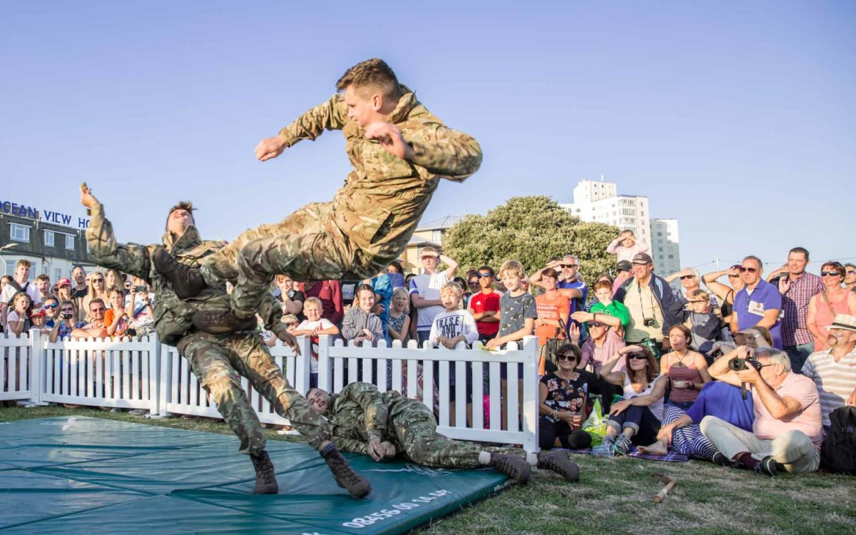 3 soldiers show off their unarmed close combat skills to a crowd of people as the festival