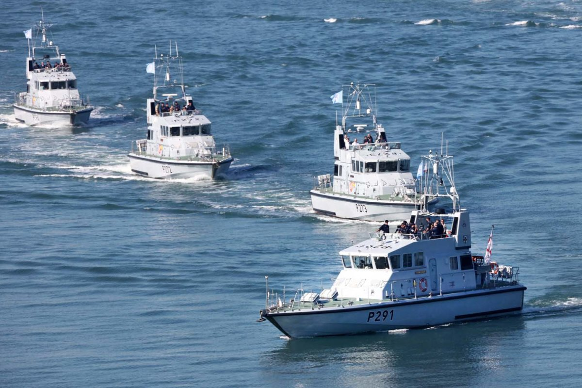 Patrol boat squadron carrying out their water maneuvers