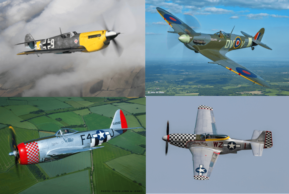 Collage of the world war 2 planes flying over the English countryside