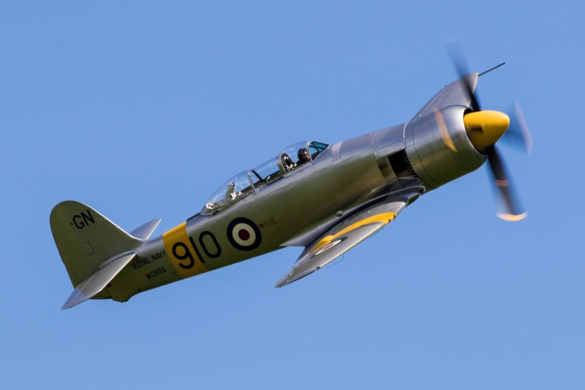 Hawker Sea fury plane performing during an air show in the clear blue skies