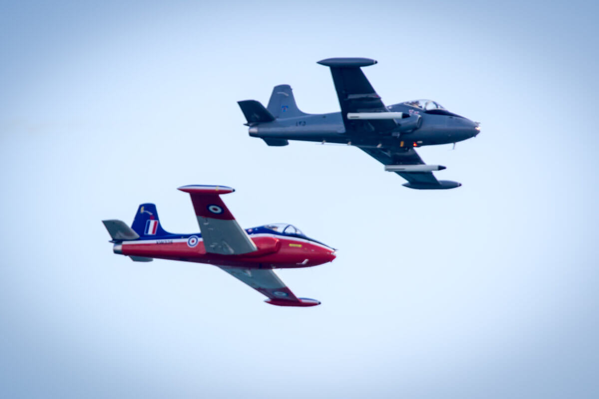 Two planes flying side by side during the air show at Bournemouth