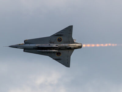 Draken plane flying by with its afterburner on