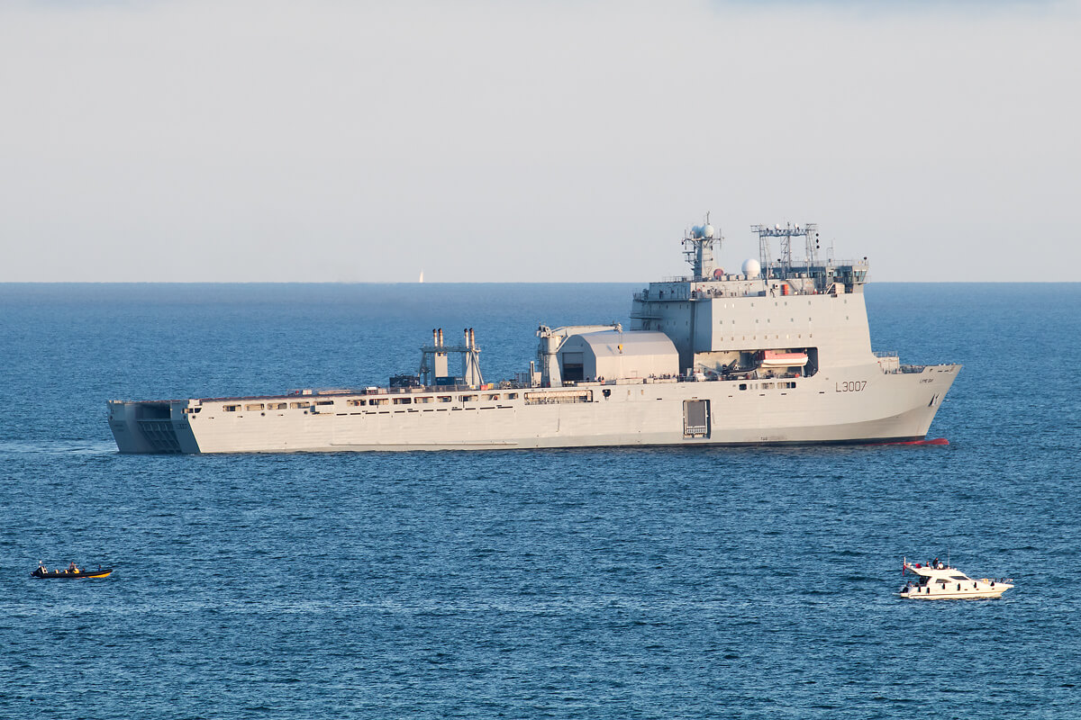 Navy ship anchored in the sea at Bournemouth