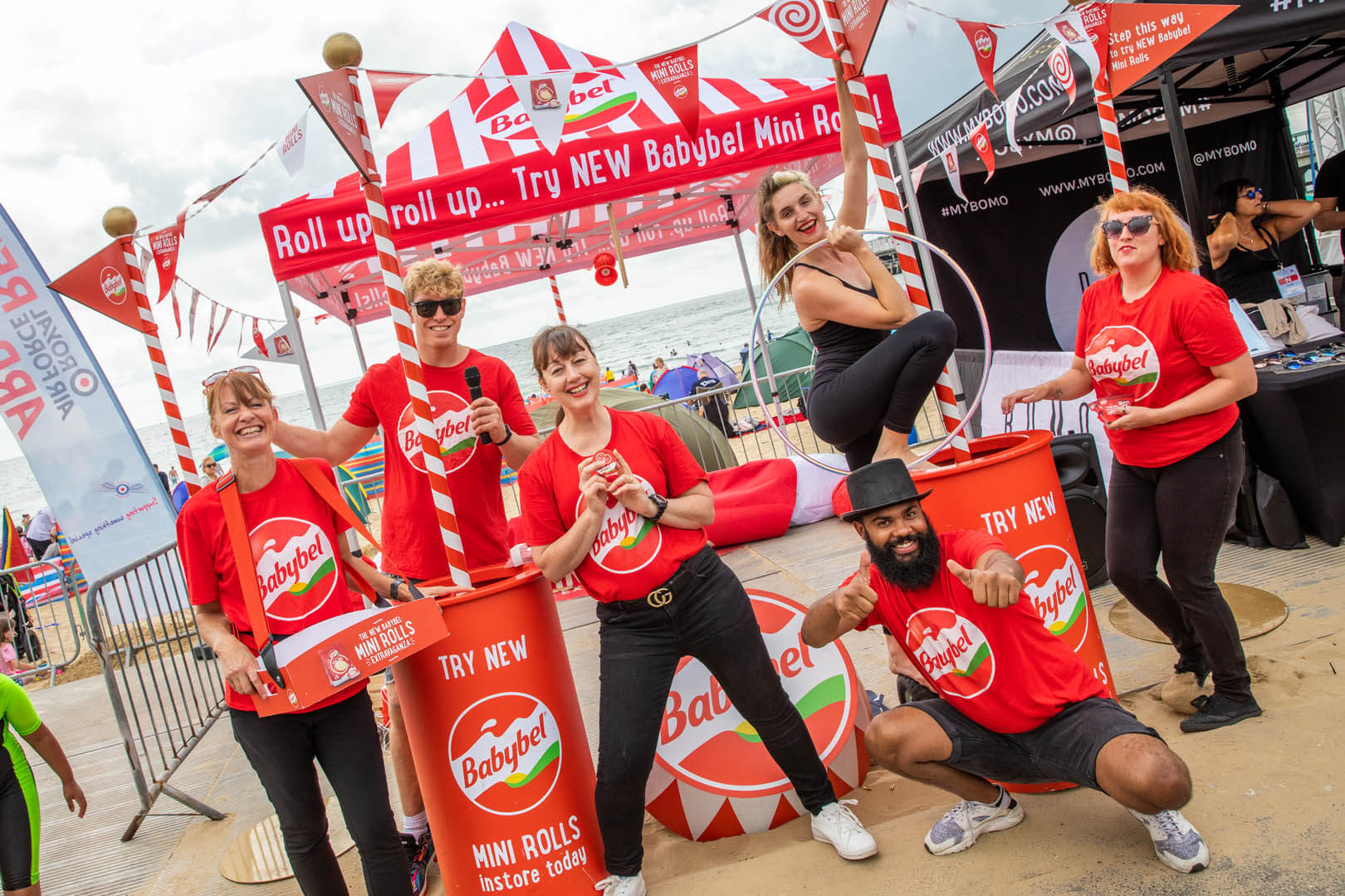 The Babybel team dressed up in the red at their trade stand for the Air show