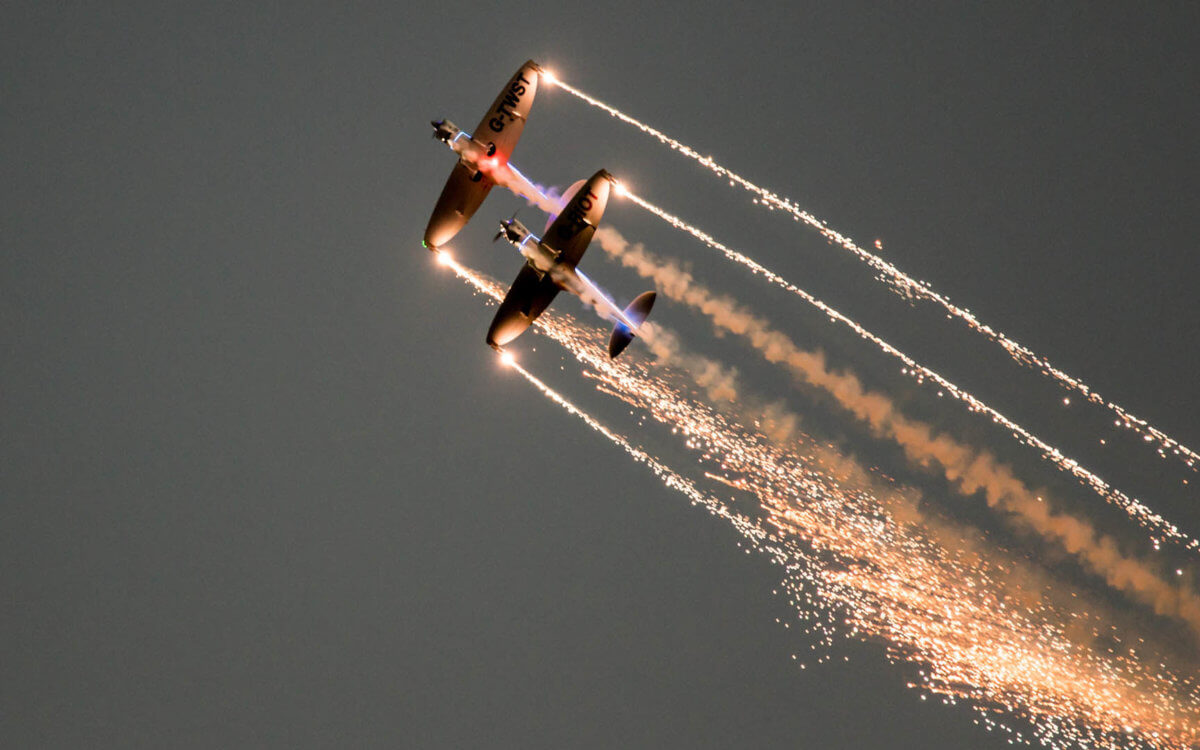 Fireflies display team putting on a stunning performance for the night air show