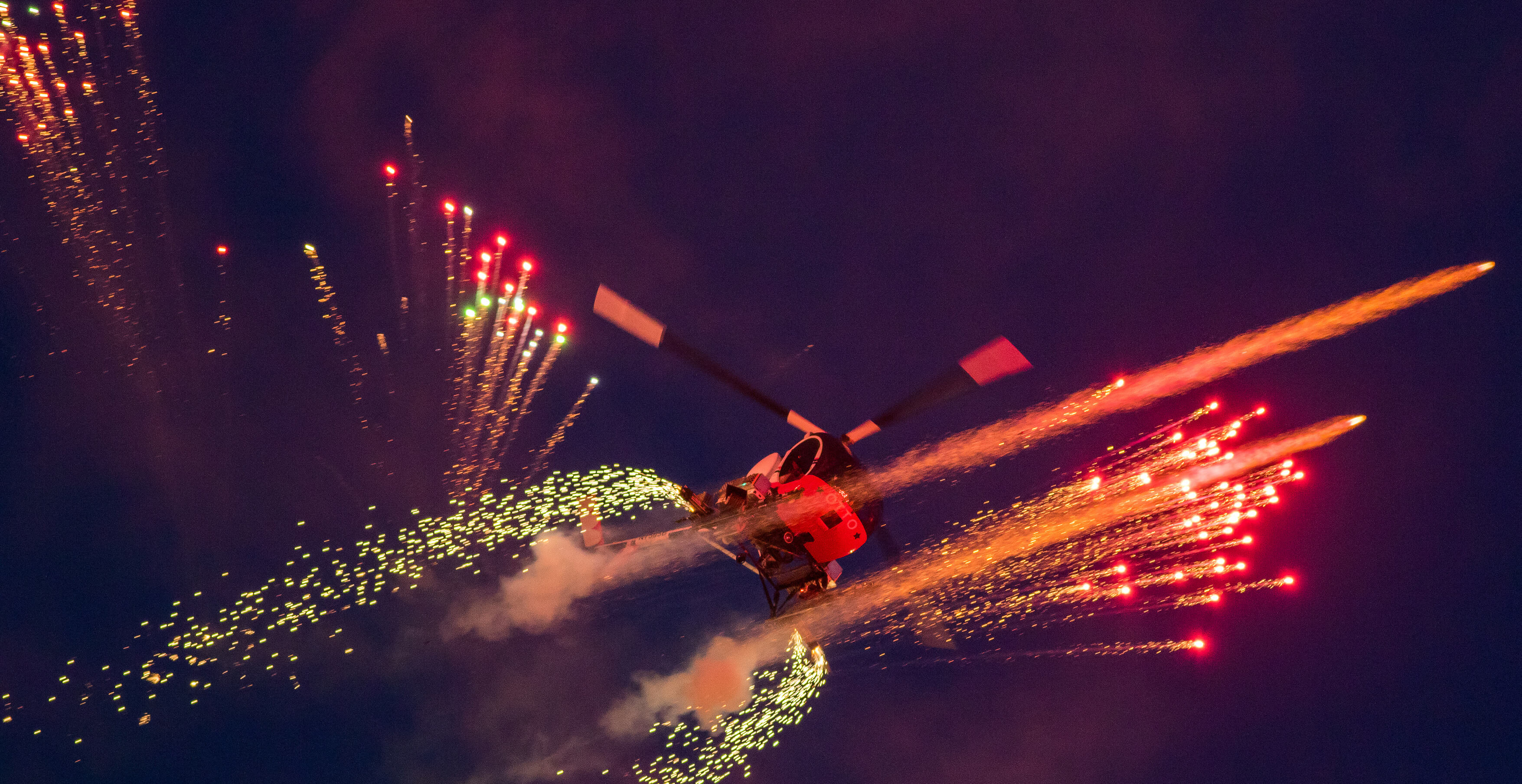 Helicopter during a night air display at Bournemouth Air Festival