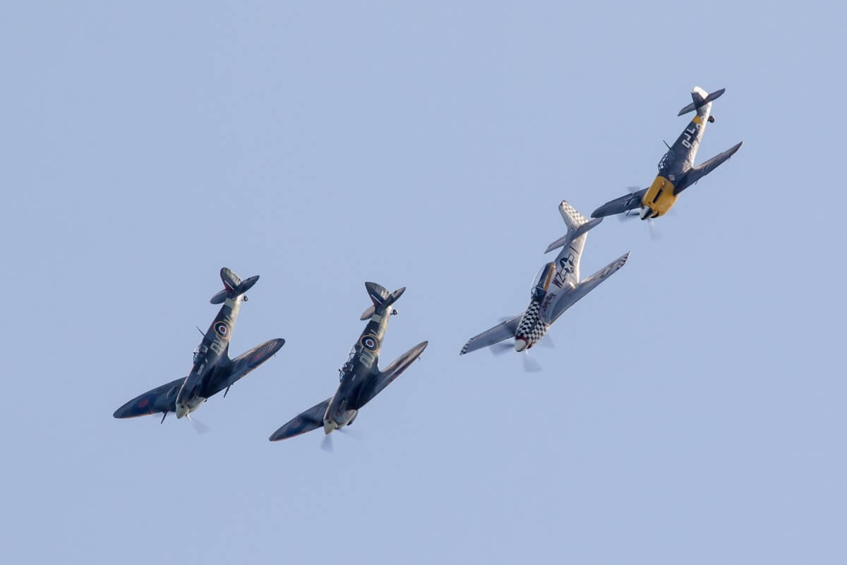 the 4 ultimate warbirds planes flying in formation over Bournemouth